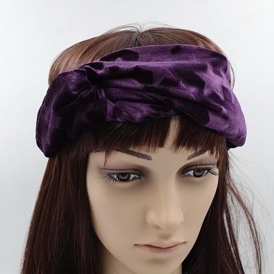 best quality entire collection top quality Bandeau serre tête headband croisé en velours motif étoiles marron